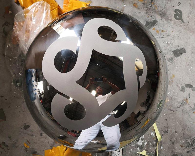 36 inch Steel Sphere Sandblasted Etched Logo