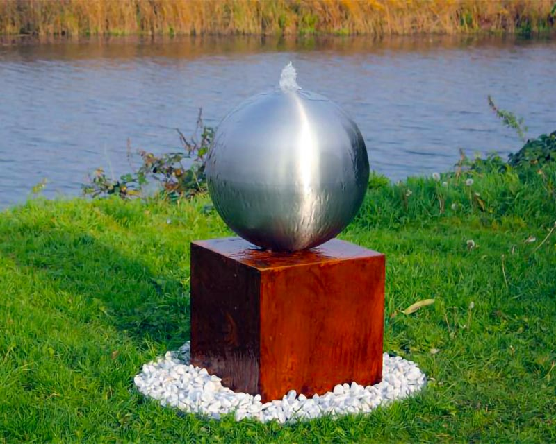 Brushed Finish Steel Sphere Water Fountain