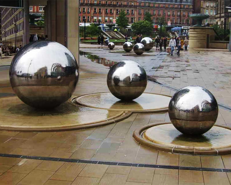 Large Steel Water Feature Spheres in Public Courtyard