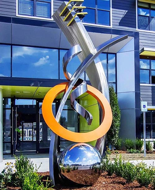 36 inch Stainless Steel Sphere Sculpture