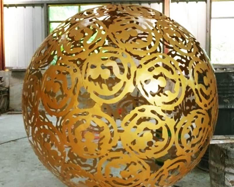 Gold Steel Sphere w/ Full Laser Cut Pattern
