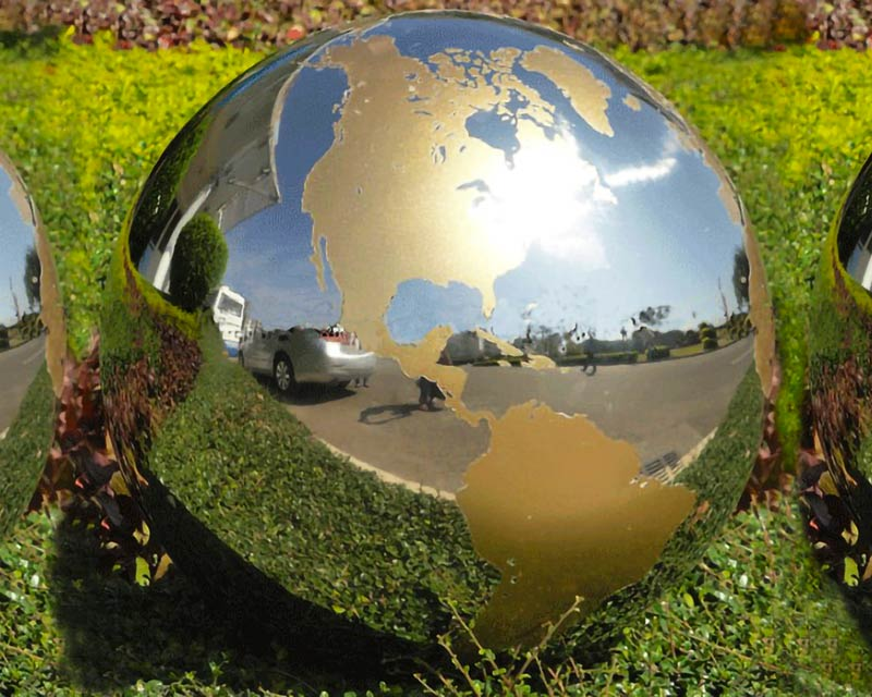 Stainless Steel Sphere with Gold Continents