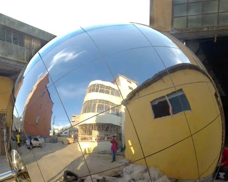 Giant Stainless Steel Sphere w/ Gridlines