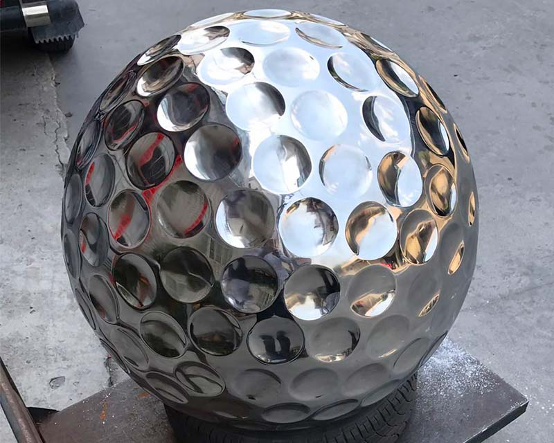 Stainless Steel Golf Ball - Sphere w/ Dimples