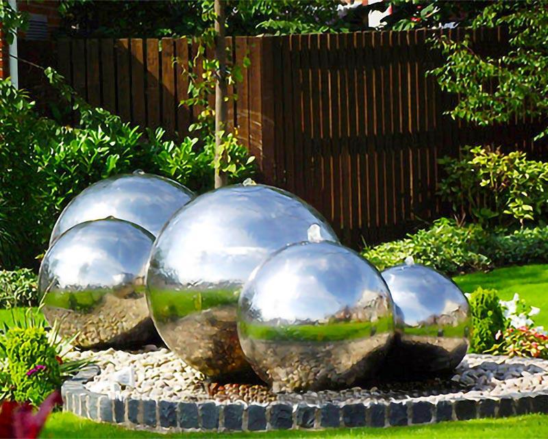 Stainless Steel Sphere Water Fountain in Backyard