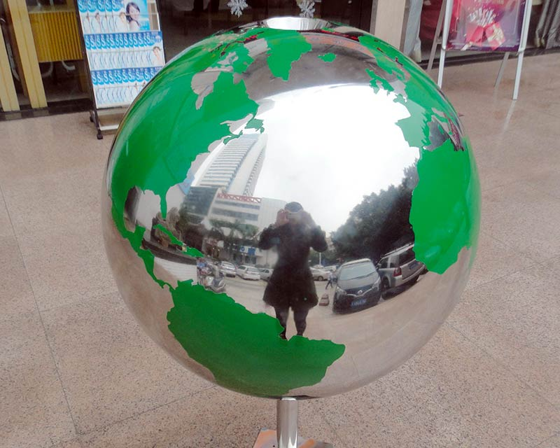 Stainless Steel World Globe Water Feature w/ Green Continents