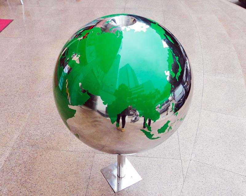 Stainless Steel Sphere w/ Etched World Map